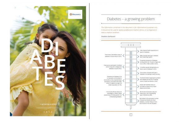 14 page corporate brochure on diabetes,   aimed at increasing public health
