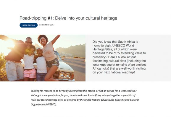 Lifestyle article about road tripping in South Africa, aimed at promoting safe driving