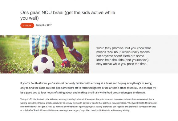 Lifestyle article targeted at parents, encouraging kids to get physically active