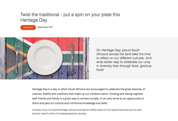 Content marketing article suggesting healthy spins on traditional dishes