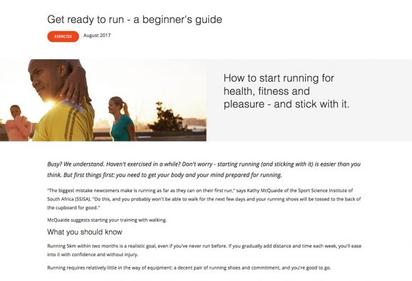 Content marketing article offering practical tips for amateur runners